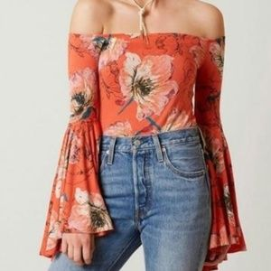 Free People bell sleeve birds of paradise top